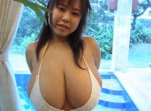 Japanese Fuko posing in a white bikini